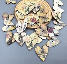 20PCS Vintage Style Paris Design Wooden Heart Shape Buttons Sewing 28mm