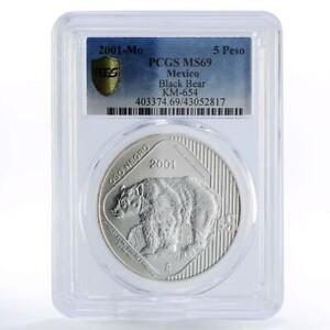 Mexico 5 pesos Endangered Wildlife Black Bear MS69 PCGS silver coin 2001