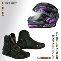 Motorcycle Motorbike Helmet Full Face, Leather Sports Riding Waterproof Shoes CE
