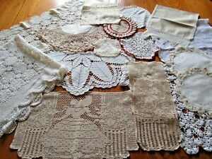 Lot of 20 Vintage Crochet Table Runners, Doilies, Tablecloth-Crafts