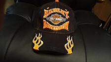 HARLEY DAVIDSON ORANGE BAR SHIELD BANNER FLAMES BLACK HAT CAP New