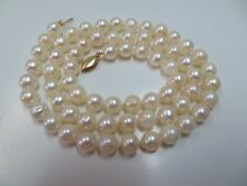 """21"""" 7.3 mm Cultured Pearl Necklace with 14k fishhook Clasp Vintage"""