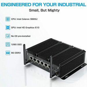 Fanless Industrial Mini PC Desktop Intel Celeron 3865U 610 8/128GB SSD 6Lan Port
