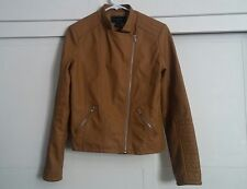 Womens Metaphor Jacket Faux Leather Zip Front Zippered Pockets Brown sz M