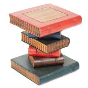 Rustic Solid Wooden Book Stack Side Table 31cm 12inch PAINTED - FU-418-S-PAINTED