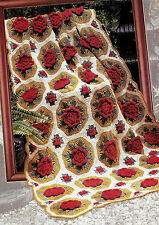 ANTIQUE POPPIES  AFGHAN  VINTAGE CHROCHET  PATTERN