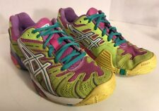 ASICS GEL RESOLUTION PGUARD RUNNING SHOES WOMENS SIZE 6.5 PURPLE PINK YELLOW BL