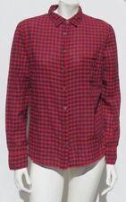 J CREW Women's Red Navy Gingham Plaid Cotton BOY Shirt Top size M 12 EUC