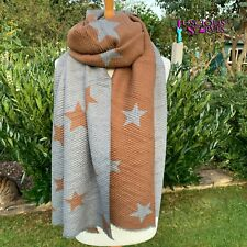 STARS STAR SCARF BROWN & GREY CRINKLE STRETCHY REVERSIBLE SCARF WOOL & COTTON