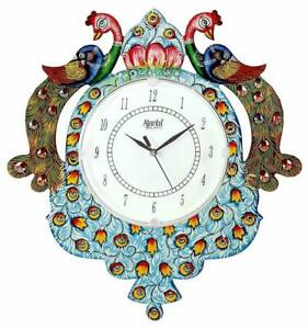 "Wooden Peacock Wall Clock 15*13"" Indian Traditional Round Wall Mount Home Décor"