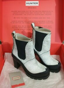 HUNTER Boots Size 5-UK Black/White Original Crac High Heel Wellies Worn Once Box