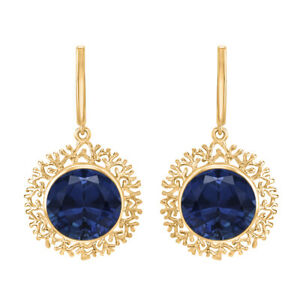 9K Yellow Gold Art Deco 1.25 CTW Round Blue Sapphire Party Wear Earring