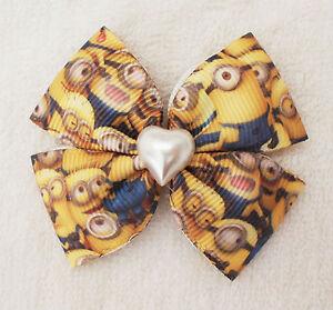 Handmade Girl Kid Children Toddler Minion 4 wings ribbon Hair Bow Clip Bobble