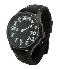 Time Equation Watch: Single Hand Math IQ unique uno geek art script black board