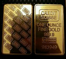 LINGOTTO CREDIT SUISSE PLACCATO D'ORO 24KT BULLION ONE OUNCE PLATED IN FINE GOLD