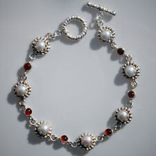 Sterling Silver Red Onyx and Pearl Bracelet Paul Anthony 925 UK HALLMARKED