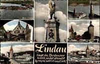 Lindau Bodensee Mehrbild-AK 1960 u.a. Rathaus Insel Löwe Am Hafen Peterskirche