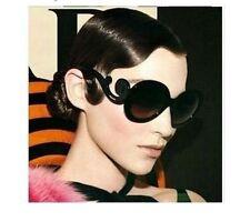 Lady Gaga Balrog Style Baroque Paparazzi Round Shape Sunglass - Shining Black