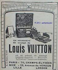 PUBLICITE LOUIS VUITTON NECESSAIRE DE VOYAGE VANITY BAGAGERIE DE 1924 FRENCH AD