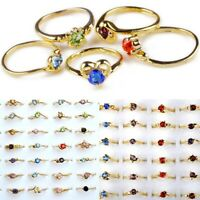 30Pcs Wholesale Jewelry Lots Mixed Colors Zircon Crystal Rhinestone Gold Rings