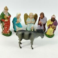 Paper Mache West Germany Shepherd Angel Nativity Figures Vintage - Damaged