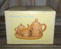 New Honey Tea Set Honey Bees Tea Pot Sugar Bowl Creamer Tray Garden Buddies