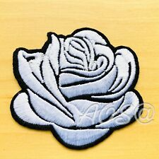 🇨🇦 Silver Rose Embroidered Patch Iron-On Flower Appliqué HD-101