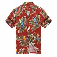 Made in Hawaii Men Hawaiian Aloha Shirt Luau Beach Cruise Parrots Leaf Red