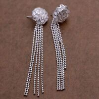 beautiful Fashion 925 Silver  women pretty charm rose Earring jewelry wedding