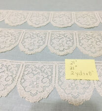 Early 1900s Cotton Lace Trim 3-1/4 Yds Off White Cotton Scalloped