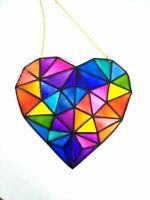 Rainbow Polygonal Heart suncatcher - Window Hanging Stained glass decor