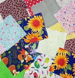 50 x patchwork squares, charm pack, lucky dip fabric, fabric Renaments bundle