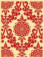 Shepard Fairey Obey Giant Parlor Pattern Red Signed Edition 85 RARE Screen Print