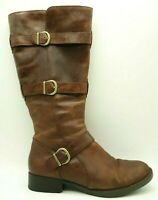 Born Brown Leather Buckle Harness Strap Zip Up Tall Boots Women's 9.5 M