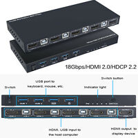 HDMI KVM Switcher 4-port Computer Host HDMI 4 in 1 out Maus Tastatur USB Sharer