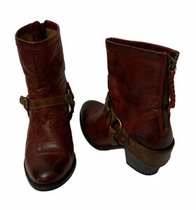 Ariat Women's 7 Ankle Cowboy Boots Red Multicolor Leather Buckle Harness Zipper