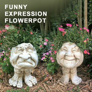 Humorous Old Couple Muggly Face Planter Grandpa Grandma Statue Flower Pot tool