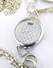 Raro reloj de bolsillo Moschino de cuarzo De Plata 925° + Cadena da 100cm