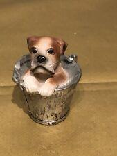 Vintage Cute Dog In Bucket/Regency Fine Arts/Boxer Ornament Garden Friends