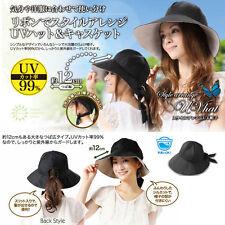 Japan NEEDS Collapsible UV Cut Ribbon Wide Beam Hats Caps K299
