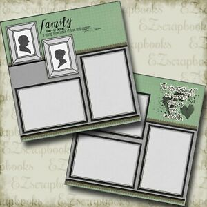 Family - 2 Premade Scrapbook Pages - EZ Layout 4398