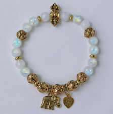 8mm Moonstone Round Beads Stabilized Alloy Bracelet BMLY13