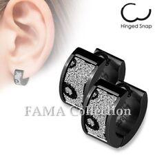 FAMA Stainless Steel Black IP Huggie Earrings w/ Black Leopard Sand Sparkle