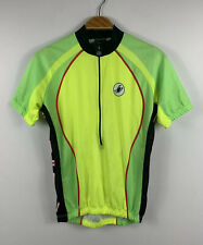 Castelli Mens Cycling Jersey Size Small Green Yellow Fluro Half Zip Made Italy