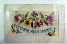 Silk Postcard- SOUVENIR FROM FRANCE (Embroidered Silk Postcard)
