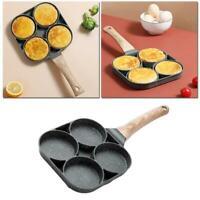 1*4 Hole Omelet Pan for Burger Egg Ham Pancake Maker Wooden Handle Frying Pot AU