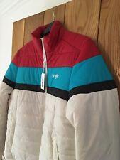 Mens Wrangler Puffer coat jacket white red blue size L large NEW