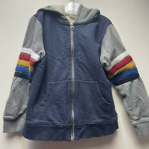 HANNA ANDERSSON Boys Size 6-7 120 Striped Sherpa Lined Hoodie Zip Front