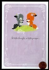 Thinking Of You Raccoon Fox Flowers Religious Prayer for You - Greeting Card New