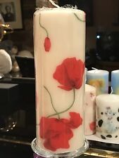 DANCING POPPIES  Hand Decorated Pillar Candle 90hrs 18x6.5cm